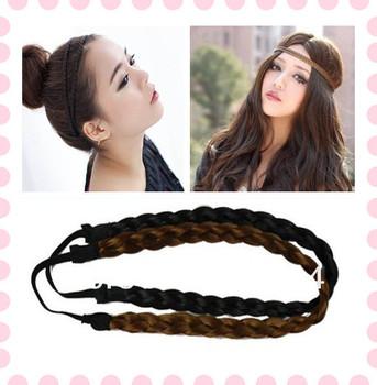 Cute Pretty Girl Elastic Headband Plait Braided Hair Band  Headwear 2 Colors