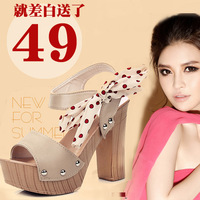 2013 summer ribbon sweet platform open toe ultra high heels thick heel women's sandals  free shipping