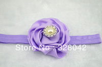 HOT sale 3'' pink satin rosetted silk rose flower pearl centre FOE headband hairband hair accessories 240pcs/lot