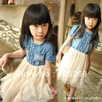 free shipping  2013 new  summer Washed denim girl's dress   tulle patchwork dress best quality
