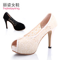 2013 spring and summer sandals women's shoes high-heeled shoes thin heels open toe cutout lace women's shoes platform