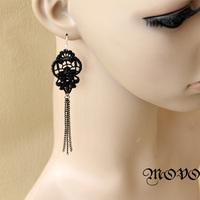 Wholesale fashion DIY Winter series black lace long tassel design earrings drop earring Gothic jewelry women accessories (EH-61)