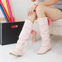 2014 Fashion All-match Wild Sweet Diamond Bow Flat boots Inner Higher Female boots