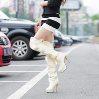2013 Fashion Winter Flowers Over-the-knee High Heels Platforms Sexy Women Boots, Black Beige White