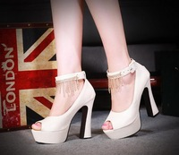 2013 thick heel ultra high heels open toe platform sandals rhinestone beaded high-heeled shoes women's shoes size