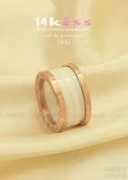 14k rose gold white black ceramic ring  lovers male women ring Not fade Ring