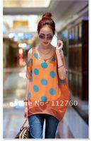 Loose polka dot orange chffion t shirt women, Fashion plus size off the shoulder tshirts young girls, Free shipping N