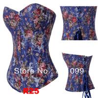 ^_^ 1pcs  free shipping Sexy Floral Brocade Victorian Steel Boned Corset Basque Burlesque S-2XL R25