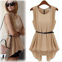 Retail CPAM free shipping 2013 new sleeveless women chiffon t-shirt / fashion lady tops for summer 1395