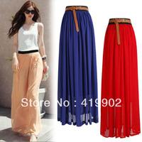 Summer Women Chiffon Full Long Maxi Skirt Puff Beach Skirts High Waist Elastic Waistband 100CM Free Shipping