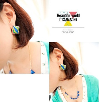 personality drop of oil rhombus color earrings earrings female exaggerated hot air balloon