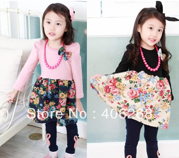 wholesale best quality retro style girl's dress Small flower necklace patch dress princess children dress 2013 new free shipping(China (Mainland))