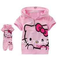 Wholesale Fashion Lovely Hello kitty Children Clothing short sleeve T-shirt +pants