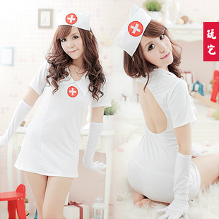 Adult sexy lingerie women, Sexy racerback nursing uniforms hair bands top gloves t(China (Mainland))