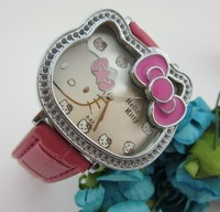 New arrivals 2013 Luxury Hello Kitty Diamond Cartoon dial lovely children watch leather band watch gift