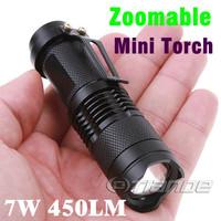 Mini LED Torch 7W 450LM CREE Q5 LED Flashlight Adjustable Focus Zoom flash Light Lamp free shipping TD-LED-K11-A