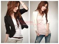 spring 2014 New Women's Sexy Black White One Button Small Suit Jacket Coat Blazer Women XXXL Plus size Free shipping