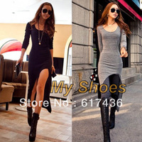 Black, Gray Korean New Women's Long Sleeve Slim Irregular Asymmetric Sexy Long Dress free shipping 10054