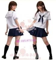 Girls summer school uniform class service sailor suit costume navy suit