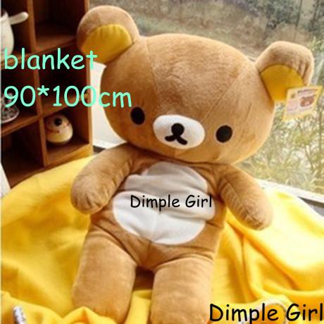 japanese style large size plush soft toy rilakkuma air conditioning blanket pillow easy bear stuffed animal huge baby doll gift(China (Mainland))
