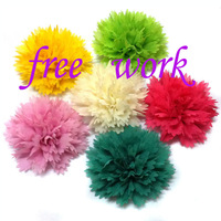 "3"" chiffon ruffle  flower ,12colors in stock, 300pcs/lot, free shipping by EMS"