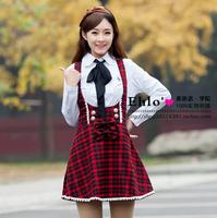 Student clothing class service uniform sweet lace flower skirt braces skirt wool knitted skirt sweet