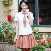 Student clothing animation services pleated skirt shirt set uniform orange plaid skirt lace decoration set