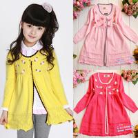 Medium-large female clothing cardigan 100% cotton sweater 2014 children's clothing knit dress clothing full cotton-padded coat