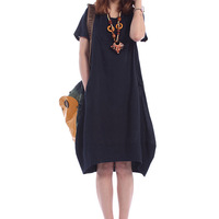 Crotch 2013 summer plus size loose fluid linen female one-piece dress one-piece dress