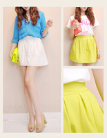 Zz preppy style solid color zipper pleated elastic strap puff skirt bust skirt fd0212