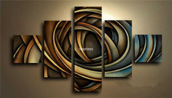 5 Panel Wall Art Hand Painted Artwork Change Color Modern Abstract Oil Painting On Canvas For Sale Group Oil Paintings(China (Mainland))