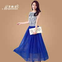 2013 full dress embroidery blue and white porcelain vintage pleated one-piece dress tank dress