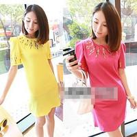free shipping 2013 fashion summer women's candy color slim all-match chiffon one-piece dress