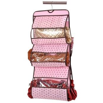 mix $10 free shipping 4792 pink polka dot high quality non-woven bags storage bag