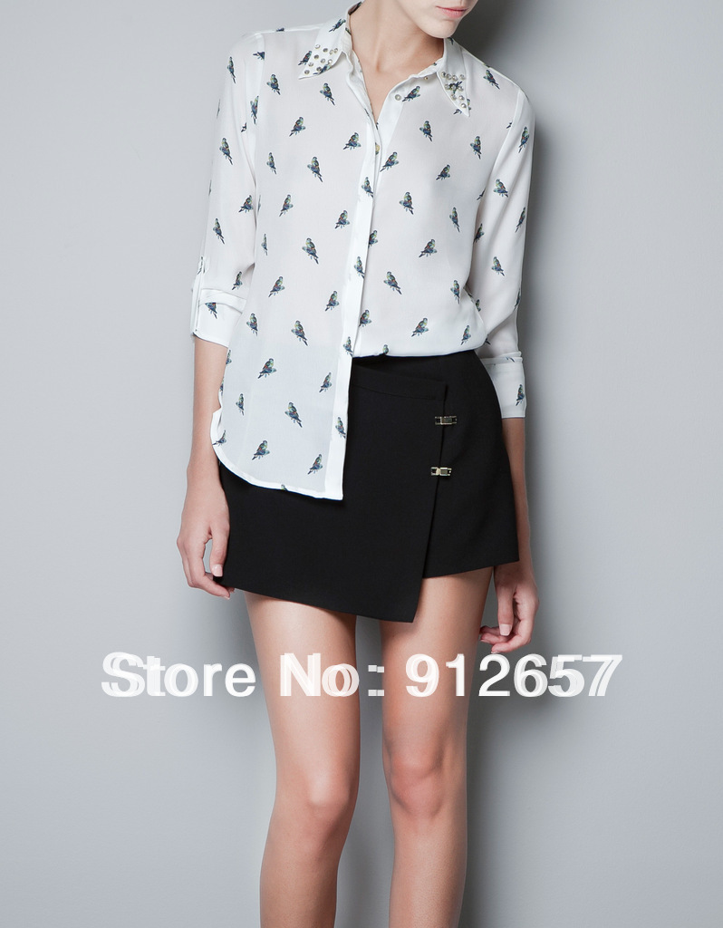 Free Shipping 2103 korean Fashion Hot sale new ladies' women's white rivet/parrot printed shirt long sleeve blouses white 8590(China (Mainland))