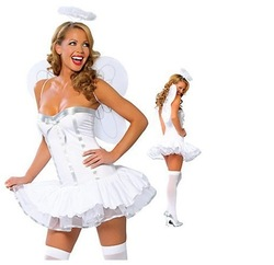 Free shippng White angel wings play clothing containing stomacher bridesmaid dresses stage costume(China (Mainland))
