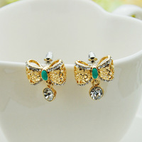 Min order$15(mixed items) New 2013 Korean Jewelry Luxury Ladies Hollow Bow Droplets Stud Earrings freeshipping