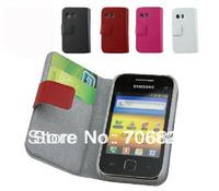 1pcs for Samsung Galaxy Y S5368,Galaxy Y TV S5367 Extra slim Book Flip Genuine Leather case(free shipping)