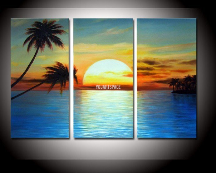 3 Piece Wall Art And Palm Tree Coconut Landscape Oil Painting On Canvas Golden Sky Cloud Sunrise Coconut Seascape Beach Wave(China (Mainland))
