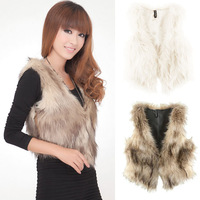 Wholesale 2013 New Hot Womans Lady Women Fashion Vintage Trend Celeb Faux Fur Waistcoat Vest Coat