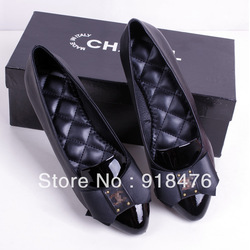 2013 new single shoes leather bow shoes Europe and the United States pointed(China (Mainland))