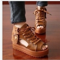 2013 gladiator elevator lacing rivet punk fashion open toe cutout sandals female shoes platform
