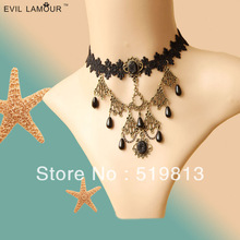 N412 tassel necklace lace belly dance set 2013 Jewelry  , Black Lace Vampire sexy  Costume Jewelry Necklace free shipping