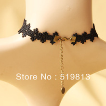 N412 tassel necklace lace belly dance set 2013 Jewelry Black Lace Vampire sexy Costume Jewelry Necklace
