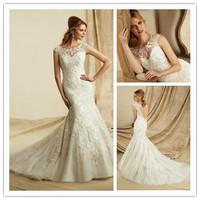 New Arrival Sleeve Unique Mermaid Wedding Dresses 2013 Chapel Train