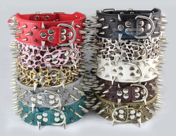 Colorful Cheap 100% Guarantee Spiked Studded PU Leather Dog Collars PitBull Mastiff P50 Free shipping(China (Mainland))