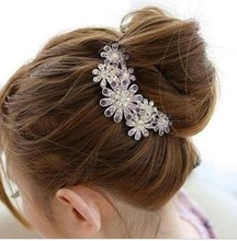FREE SHIPPING!!! 8623 new hair accessories tide beautiful diamond flower comb inserted comb five chainring Bob(China (Mainland))