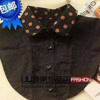 Polka dot vintage female collar false collar shirt false collar black