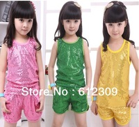 Free Shipping(4pcs/lot)girl sequin vest sets fashion baby sequin tank tops+ shorts 2 pieces outfits Children's Clothing Suits