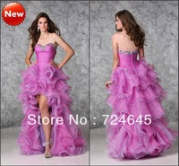 New Arrival 2013 A  Line Sweetheart  Beaded  Burgundy  High low Organza Crystal Sexy Cheap Evening Dress Prom Dresses